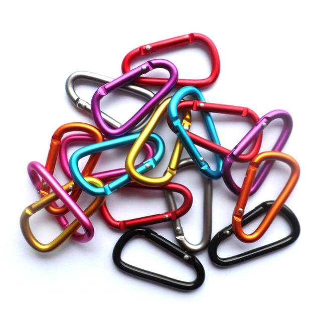 5PC random color Aluminum Alloy key ring Bottle Hook D Shape Carabiner Spring Snap Clip Hooks Mountaineering Buckle keychain