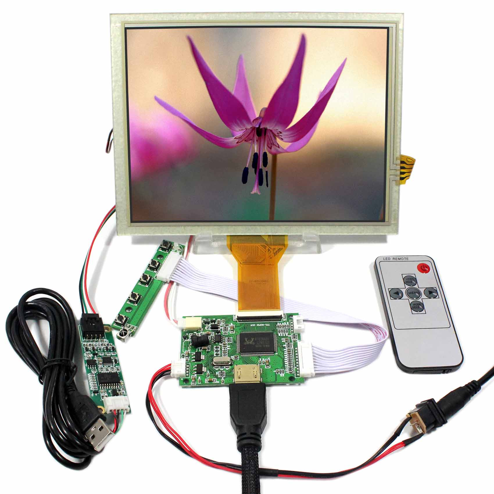 HDMI LCD Controller Board+8inch EJ080NA-05A 800X600 LCD Screen With Touch Panel hdmi vga av audio usb fpv controller board 8inch 800x600 ej080na 05a lcd panel screen model lcd for raspberry pi