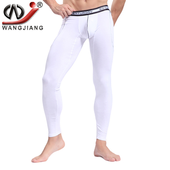 Men Bamboo Fiber Long Underwear WJ Sous Vetement Thermique Pants Slimming Leggings Autumn Warm Thin Long Johns