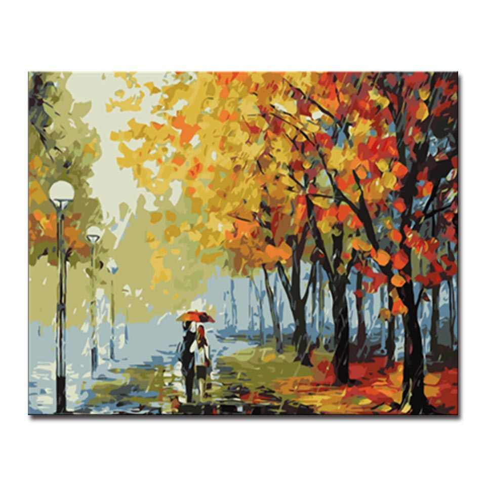 DIY Digit Oil Painting By Numbers Kits HandPainted Maple Leaf Avenue Pictures On Canvas Home Decor Wall Art Scenery Craft