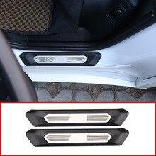 2 шт. для BMW X3 G01 2018 2019 автомобиль порога защитная пластина крышка инструмент для отделки для BMW X4 G02 2018 2019 с красочными M3 логотип