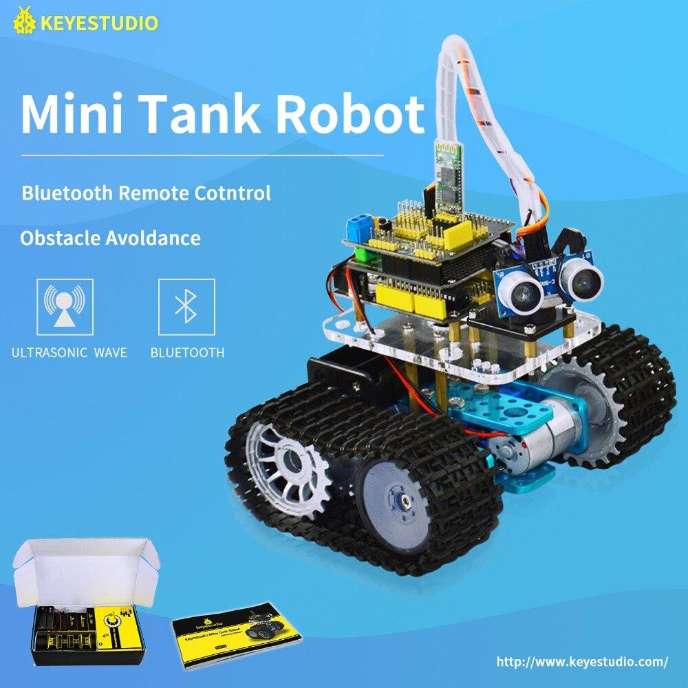 Keyestudio DIY Mini Réservoir Intelligent Robot voiture kit pour Arduino Robot L'éducation Programmation + manuel + PDF (en ligne) + 5 projets