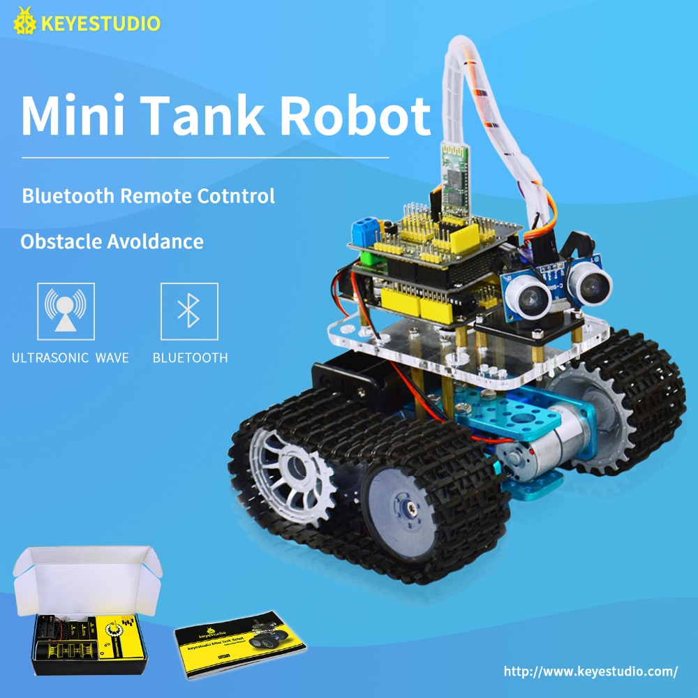 Keyestudio kit DIY Mini modelo de Tanque de carro Robô Inteligente para Arduino Robot Educação Programação + manual + PDF (online) + projetos 5