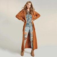 Sisjuly Autumn Women Long Knitwear Coat Patchwork Straight Pocket Plain X Long Cardigan High Quality Bohemia