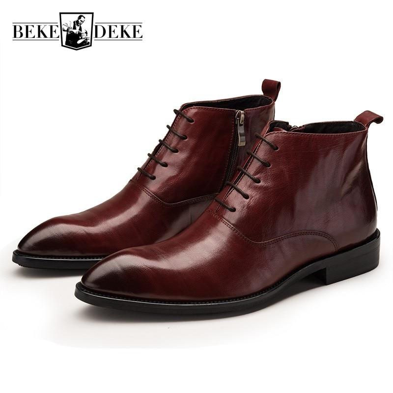 England Stil Spitz Echtem Leder Stiefel Männer Frühling Herbst Marke Spitze Up Zipper Arbeit Schuhe Mann Mode Stiefel Buty Hindernis Entfernen