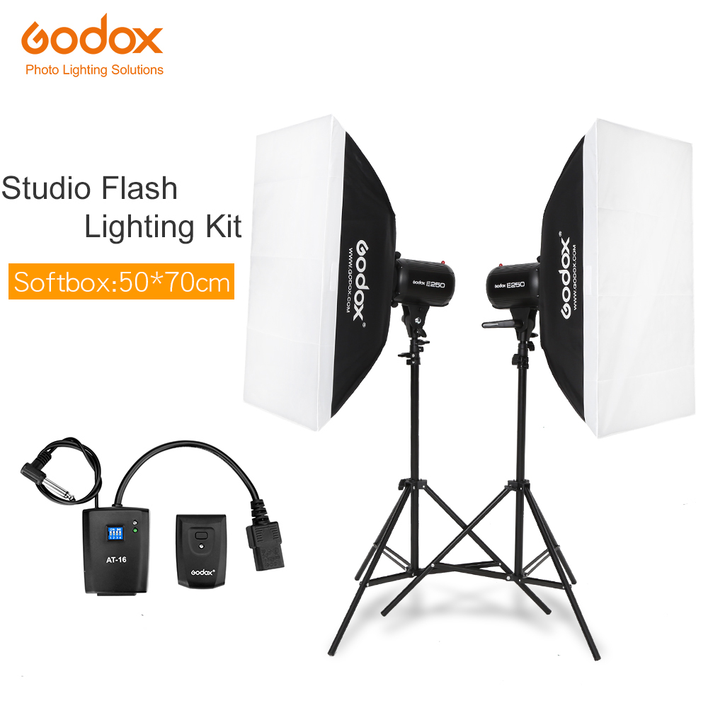 Godox Strobe Studio Flash Light Kit 500W Photographic Lighting Strobes Light Stands Triggers Soft Box