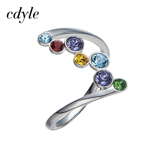 Cdyle Crystals from Swarovski Luxury Ring Fashion Romantic Anniversary  Mulit Color Engagement Women Jewelry Elegant Rainbow 24f7733f4332