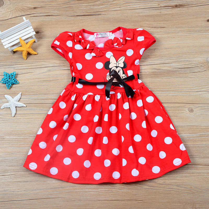 4684f30a830 Summer 2018 Cute Dots Cartoon Minnie Mickey Princess Birthday Dress Cotton Girls  Party Dress Kids Girls