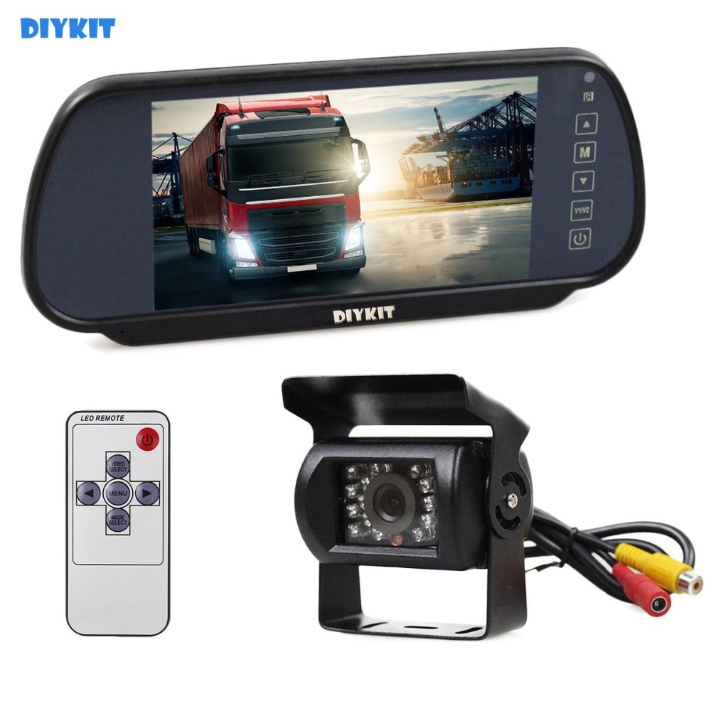DIYKIT Wired 7inch Mirror Monitor Car Monitor Waterproof IR Night Vision CCD Rear View Car Camera for Truck Caravan Bus Van купить недорого в Москве