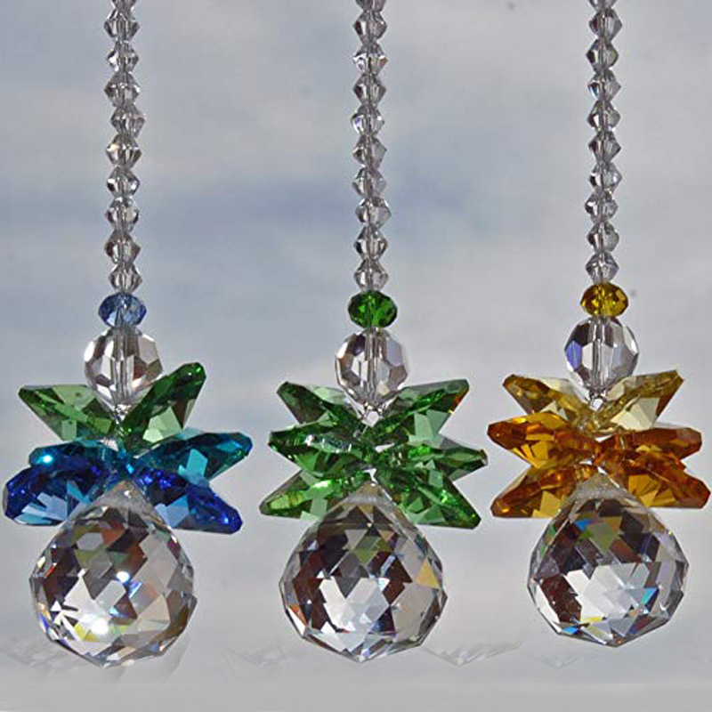 """Two Vintage 6/"""" Three Sided Chandelier Crystal Prisms Reflection//Sun Catchers 2"""