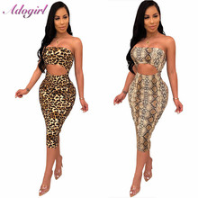 Adogirl Sexy Women Snake Print Strapless Bodycon Dress Casual Backless Hollow Out Night Party Dresses summer vestidos Female