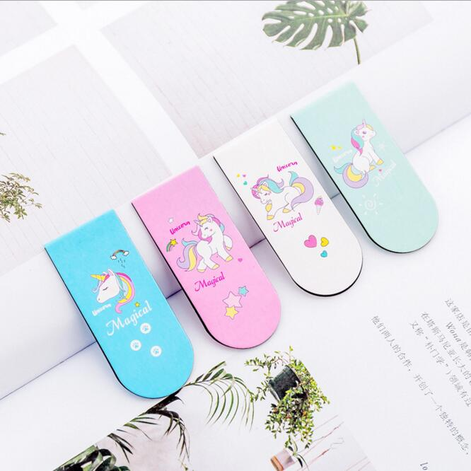 4pcs/lot Creative Korean Cartoon Unicorn Magnetic Bookmark For Books Paper Organizer Book Page Marker School Stationery Gift Set