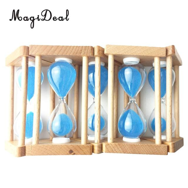MagiDeal Wooden Frame Sandglass Hourglass Sand Timer Clock -30/60/90 Seconds 1/3/5 Minutes Home Cafe Room Decor Blue/Red