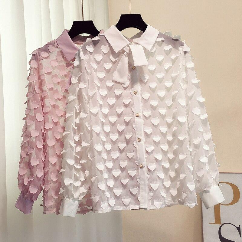 Pétales Solide Doux Chemise blanc 2019 Mode Marée Nouveau Rose Printemps De Blouse Femmes 60z8qw