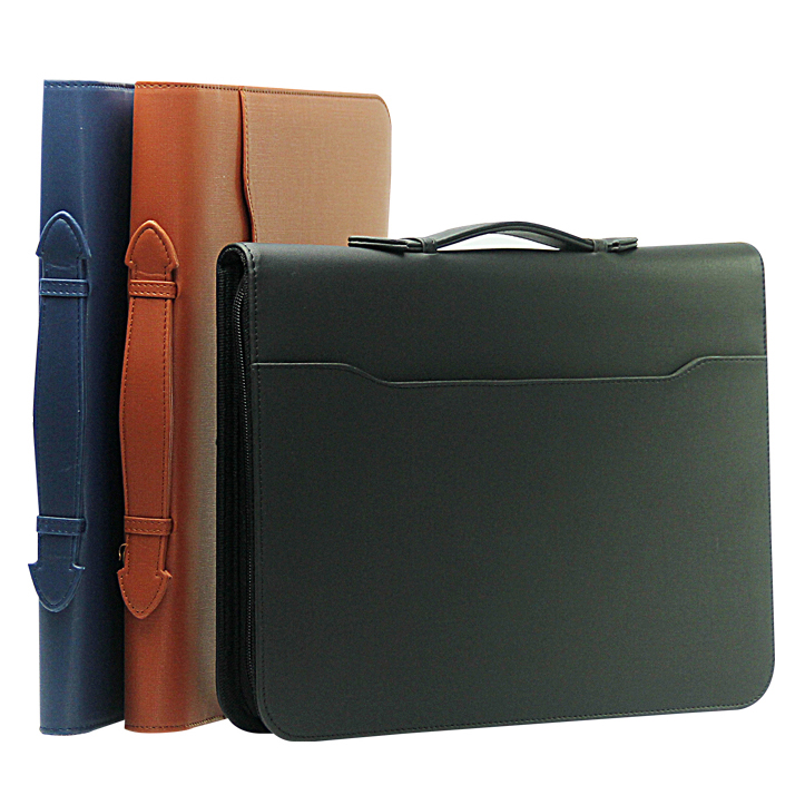a4 letter size portfolio folder has handle PU leather business office handmade document case