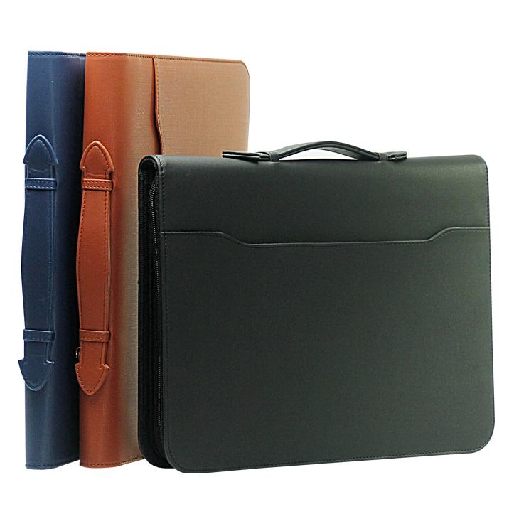 A4/lettre taille portefeuille dossier a poignée en cuir PU bureau d'affaires à la main porte-documents