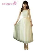 Champagne tulle o neck sleeved elegant short dress