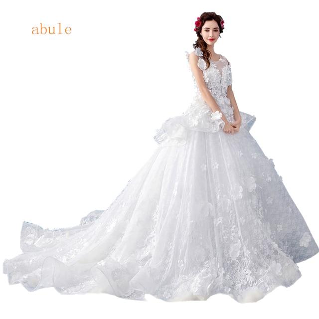 abule Luxurious wedding dress sheer lace long train flowers princess turkey  Tulle ruffles bridal wedding gowns 2f2cca89df21