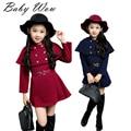 Corea ropa Big Girls otoño los niños de pecho doble cazadora dulces del mantón del estilo niños trajes viento colegio ropa tyh30551