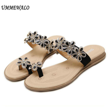 ff4b0d392c4046 UMMEWALO Women Toe Ring Sandals Femme Flip Flops Flat Sandals Slippers  Flowers Rhinestone Gladiator Sandal Shoes