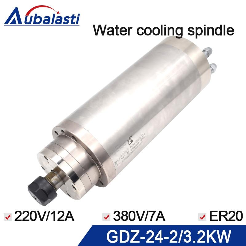 Cnc motore mandrino 3.2KW 220 v 380 v GDZ-24-2 mandrino di raffreddamento ad Acqua ER20 con diametro di 105mm 7A Per CNC router di macchine