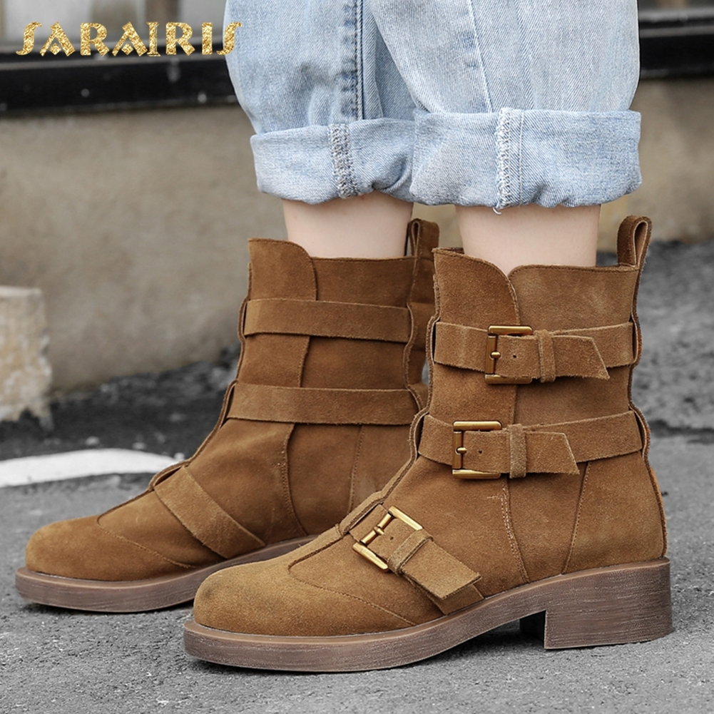SARAIRIS 2018 Large Size 33-41 Genuine Leather Buckles Retro Ankle Boots Woman Shoes Square Heels Woman Boots Shoes WomenSARAIRIS 2018 Large Size 33-41 Genuine Leather Buckles Retro Ankle Boots Woman Shoes Square Heels Woman Boots Shoes Women