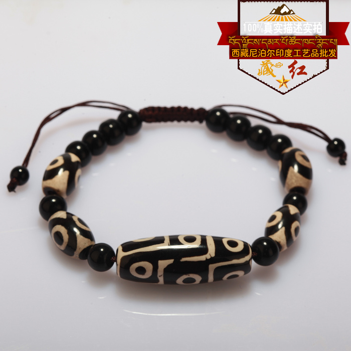 High quality Tibet Dzi Beads Bracelet Natural Stone 9 eyes and 3 Eyes Beads New Design Fengshui Beads Bracelet Free Shipping 30x12mm natural red chalcedony 3 5 6 7 8 9 eyes pattern tibet dzi loose beads pendant tibet beads for women