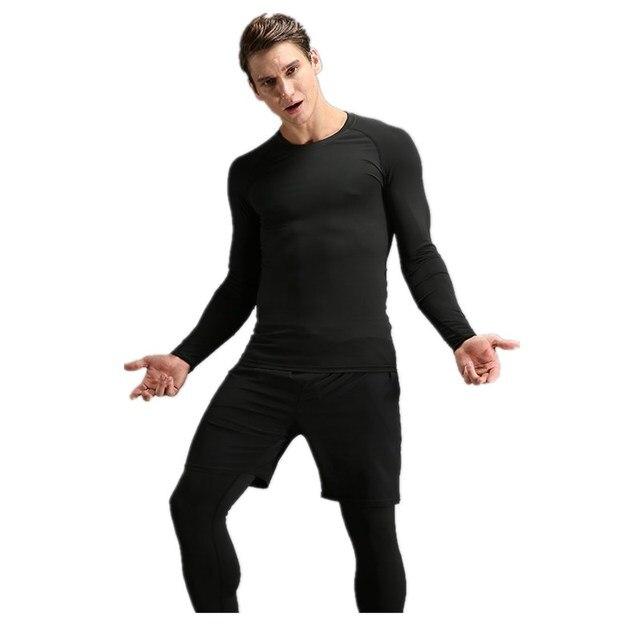185757e4ef1c1 2019 Venta caliente mallas Fitness trajes para hombres 3 piezas de secado  rápido de deporte para
