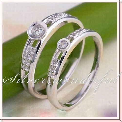 Promotion 925 Sterling Silver Wedding Rings for Couples,Silver Rings with Manmade Diamond for Lovers  WR054w