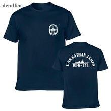 Moda masculina t-shirts uss nathan james ddg 151 o último navio t camisas novidade manga curta tshirt