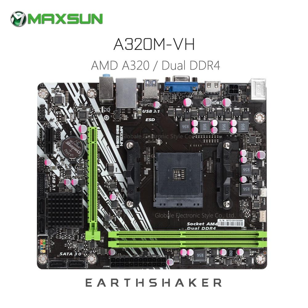MAXSUN AMD USB3.1 Gigabit Matx DDR4 Vga Hdmi Ms-Earthshaker A320m-Vh 4-X-Sataiii Original