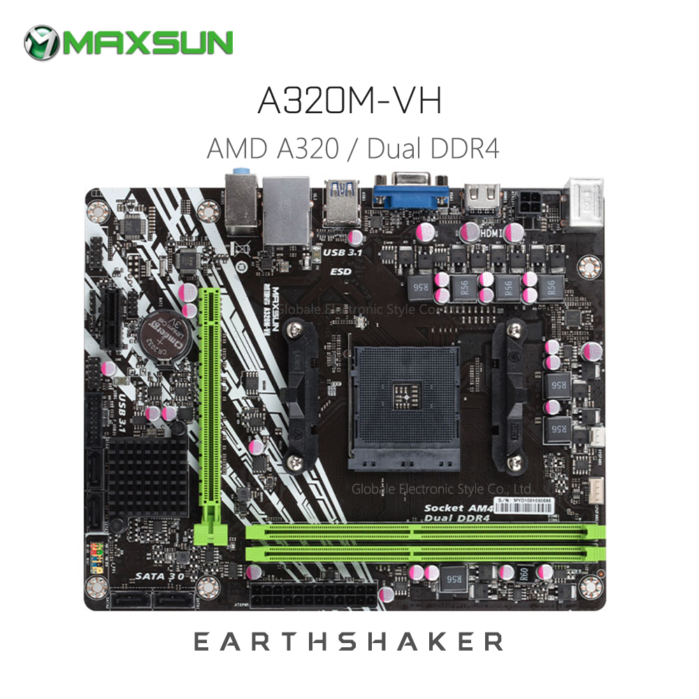 Original MAXSUN MS Earthshaker A320M VH AMD Motherboard mATX Dual Channel DDR4 Gigabit LAN 4 x SATAIII USB3.1 VGA HDMI