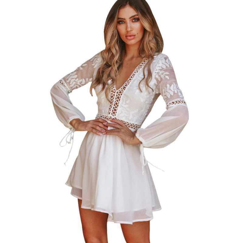 90458cb9aa New Fashion Women Casual Sexy V-Neck Long Sleeve Lace Trim Short Mini Dress  white