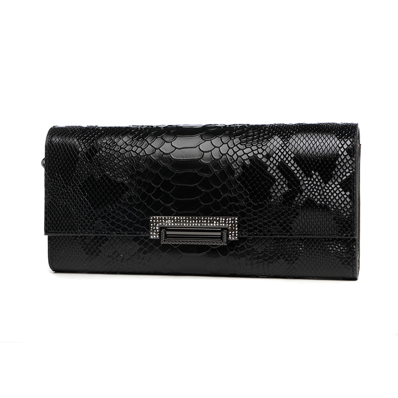 Womens Evening Bag Clutch Wallet Ladies Shoulder Hand Bag Day Clutches Handbag Genuine Leather Serpentine Long Purse Card Holder