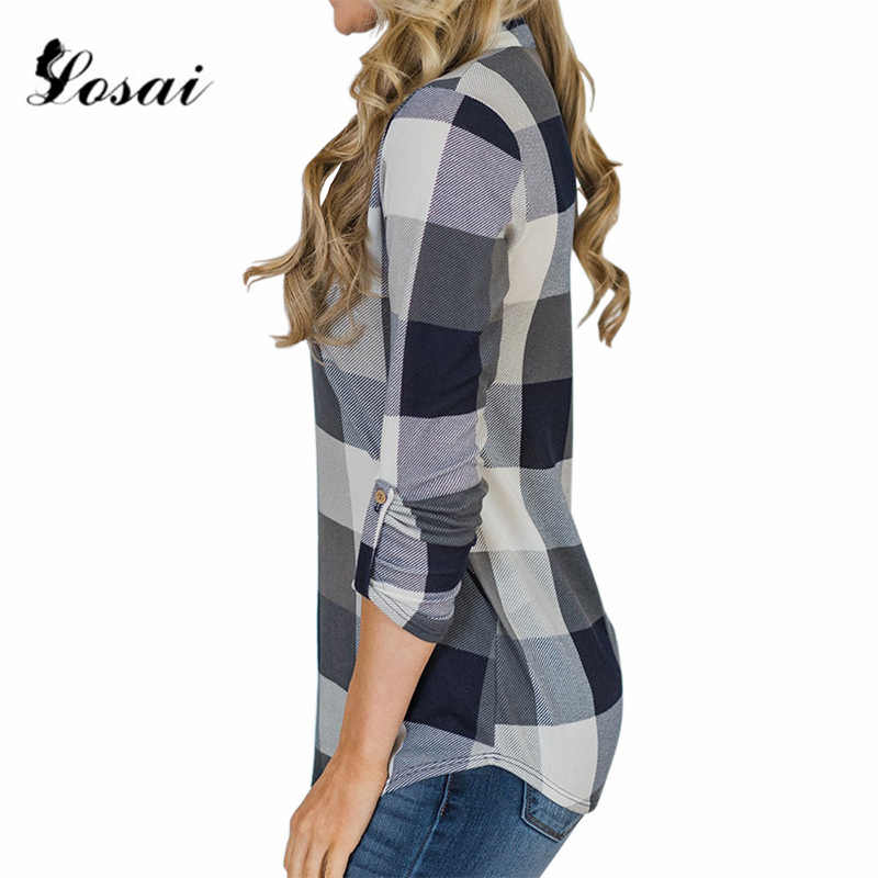 2019 Женская клетчатая рубашка с принтом, длинный рукав, v-образный вырез, блузка для девушек, повседневные летние блузки, женские блузки, Рубашки, Топы, одежда
