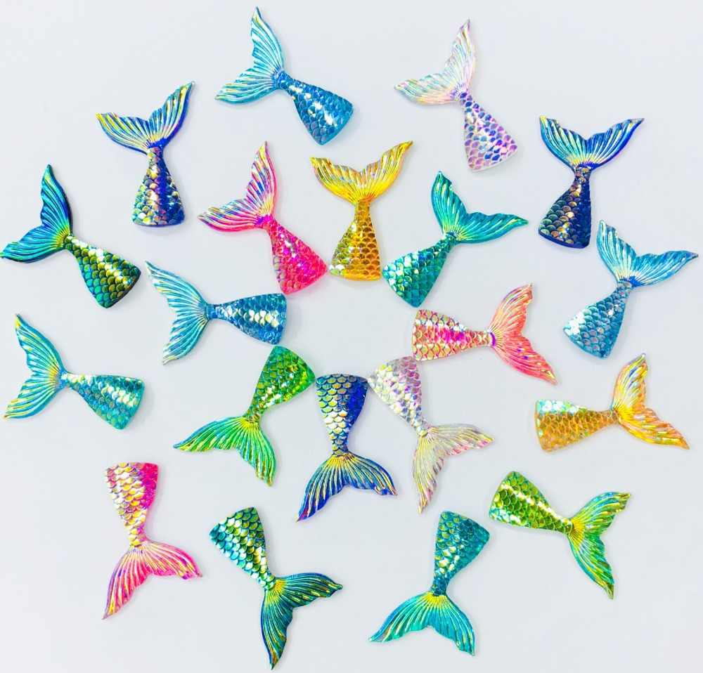 7Pcs/Lot AB Mermaid Tail Polymer Slime Charms Lizun Modeling Clay DIY Kit Accesorios Box Toy For Children Slime Supplies Filler
