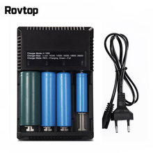 Rovtop Universal 4 Port Battery Charger LCD Intelligent Charger Li-ion 18650 18350 14500 16340 26650 AAA AA 12V Battery Charger(China)
