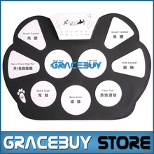 Portable Electric Digital Practice Drum Pad Set USB Electronic Drumset Kit Musical Drumpad With Drum Sticks Foot Pedal New