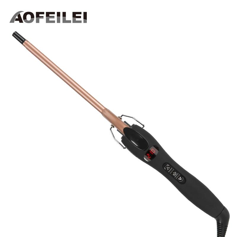 Профессиональные щипцы для завивки волос Aofeilei, 9 мм конусная керамическая плойка, роликовые бигуди для салонов красоты 1