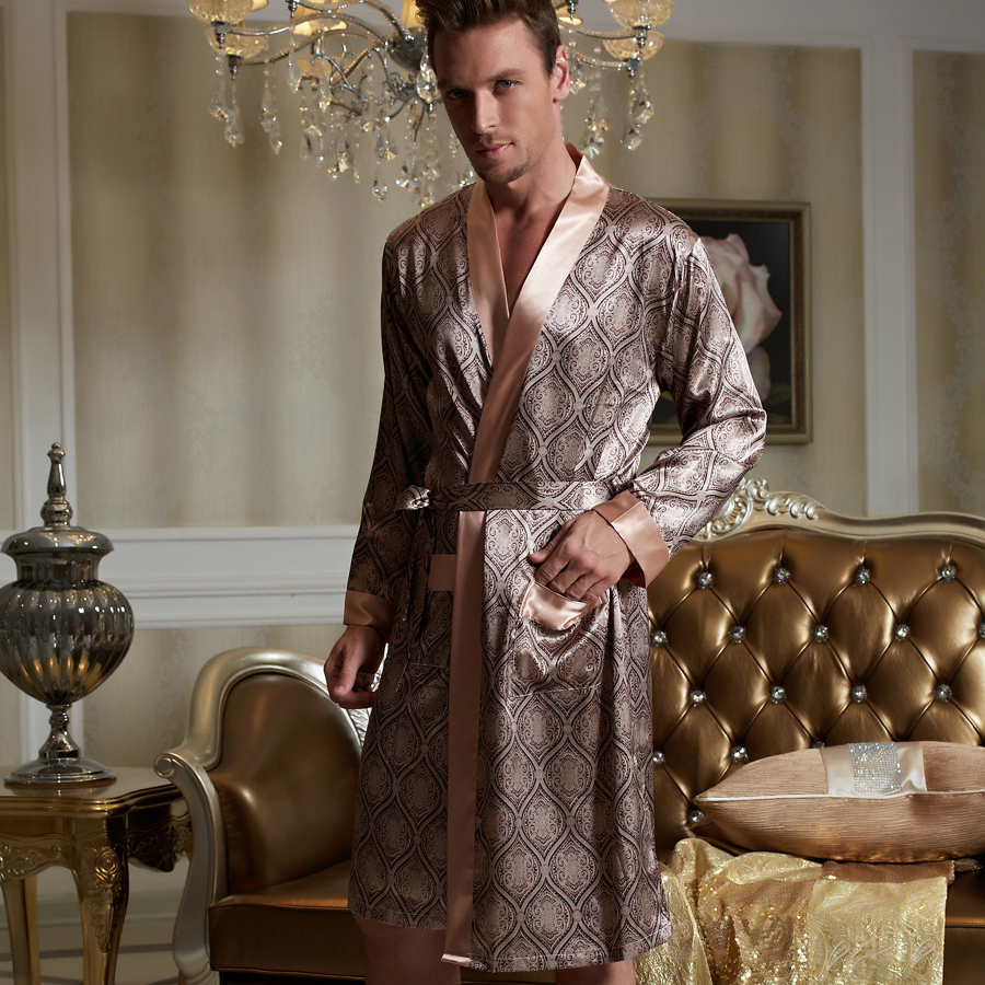 Xifenni 2020 New Robes Men Softness Satin Silk Sleepwear Male Geomtric Pattern Bathrobes Long-Sleeve Pijama Sleeping Robe 20505