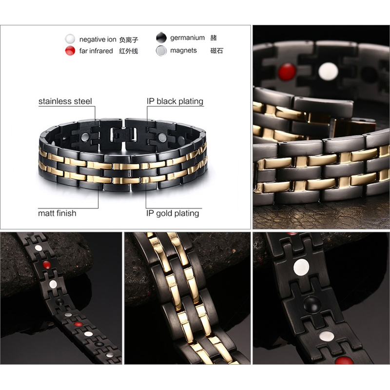 Rainso Kesehatan Magnetic Gelang Mens Rantai Tangan Gelang Hitam - Perhiasan fashion - Foto 2