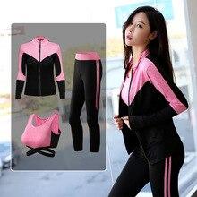 3pcs Autumn Women Sportswear Elastic Leggings Zip Up Jacket Sweatshirt Yoga Bra Running Jogger Fitness Gym Outfit Set Sport Suit