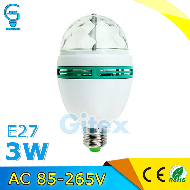 Colorful LED Stage Light E27 3W Auto Rotating RGB LED Bulb Stage Light Party Lamp Disco Ball Party Light eu plug 48 led rgb voice activated auto rotating party stage light transparent ac 90 240v