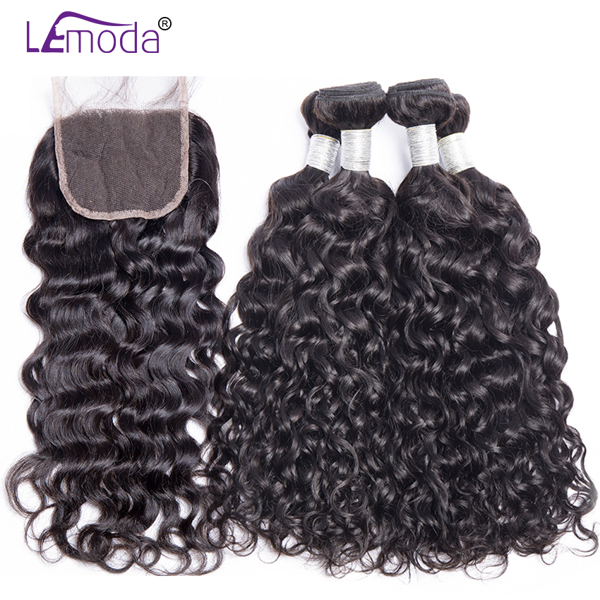 Lemoda Human-Hair-Bundles Hair-Extensions Closure Water-Wave Malaysian With Remy Or Middle