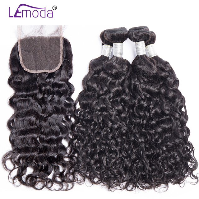 Malaysian Water Wave Human Hair Bundles With Closure 3 or 4 Bundles With Closure LeModa Remy Hair Extensions Middle Free Closure