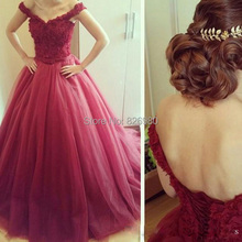 2015 New Ball Gown Off Shoulder Prom Gown Red Lace Applique Lace Up Sweep Length Sleeveless