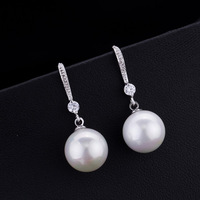 2017 Korean Fashion Trendy Women White Pearl Bride Silver Earrings Earrings Jewelry Orecchini Donna Women S