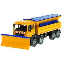 Kdw liga diecast neve varredor 1:50 serviço de inverno veículo removível capa 8 roda mais limpa trator diecast modelo hobby brinquedos