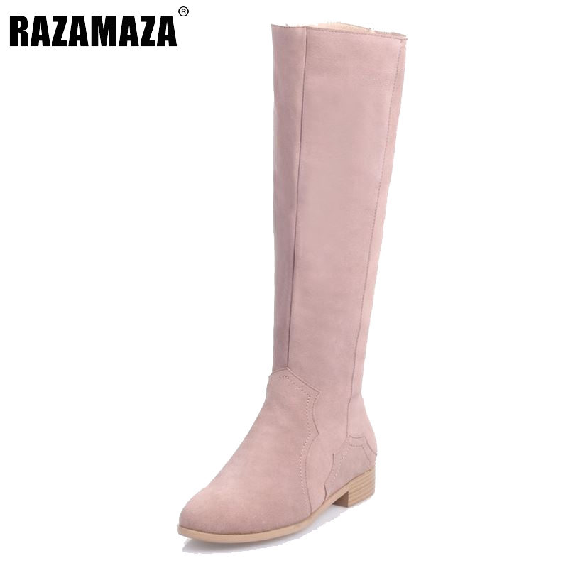 RizaBina Women Real Genuine Leather Knee Boots Woman Flat Zipper Botas Feminine Winter Fur Warm Footwear Shoes Size 34-39