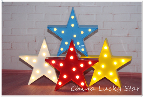 "LYS UP Mini 9 ""Plastic Marquee-skilt hvid blå rød gul Stjernelys LED neonlys Chistmas Indendørs sovesal"